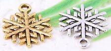 Wholesale 30/52Pcs Silver Plated/Gold Plated(Lead-Free)Snowflake Charms 20x15mm