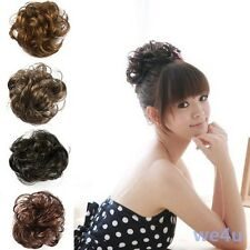 Pony Tail Fake Hair Extension Bride Bun Hairpiece Scrunchie Wavy Hair Colorful