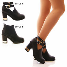 LADIES WOMENS BLOCK HEEL CUT OUT BOOTS GOLD CHUNKY FASHION BUCKLE SHOES SIZE
