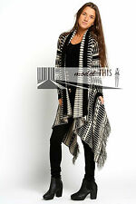 LADIES WATERFALL AZTEC TRIBAL DRAPE KIMONO TASSEL CARDIGAN SIZE 8 10 12 14 16 18