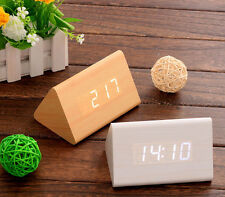 Night Vision light Led Time Voice induction Temperature Wooden Gift Alarm clock