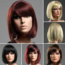 Sexy Womens Inclined Bang Short Straight Full Cosplay Party BOBO Wig Fancy Dress