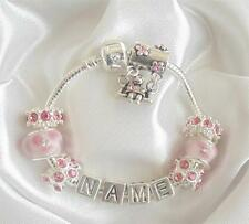 PERSONALISED CHILDRENS CHARM BRACELET ANY NAME PINK  SPARKLE GIRL ON SWING