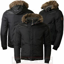 Mens Padded Parka Jacket Threadbare Faux Fur PU Hood Winter Short Coat