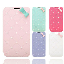 Newest Fit For iPhone 6 Plus 5.5 Sweet Gift Leather Pearl Bow Open Case Cover UK