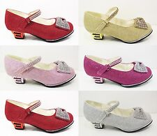 Girls Glitter Diamante Party Wedding Shoes Kids Childrens New Velcro Size 7 - 3