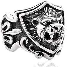 Sterling Silver Royal Fleur De lis Lion Head Tribal Tattoo Shield Ring Size 8-18