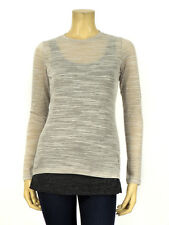 Timo Weiland Long Sleeve Layered Heather Gray Charcoal T-Shirt Tank Top Blouse