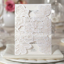 Gorgeous Laser Cut Floral Design Wedding Invitations Cards And Envelopes, Seals