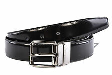 DOLCE&GABBANA MEN'S ADJUSTABLE LENGTH REVERSIBLE LEATHER BELT NEW BLACK  7F3