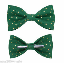 Green With Gold Stars Clip On Cotton Bow Tie Men / Boys