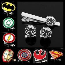 Buy 2 Get 1 Free Engravable Superhero The Avengers Cufflinks Tie Bar Clip Clasp