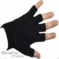 Mens Womens Thermal Fingerless Half Finger Warm Stretch Black Magic Gloves