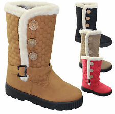 WOMENS WINTER SNOW LADIES  FUR LINED RUBBER SOLE MID CALF QUILTED ANKLE BOOTS