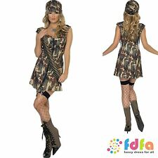 FEVER CAMO ARMY SOLDIER GIRL & HAT - all sizes 8-18 - womens fancy dress