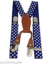"Toddler Blue / White Polka Dots 1"" Wide Suspenders  Fits Ages 2 - 5 Years 3T 4T"