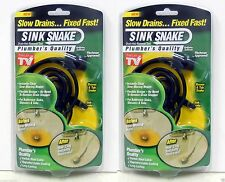 TWO SINK SNAKE HAIR CLOG REMOVAL TOOL SLOW DRAINS SINKS BATH TUBS SHOWER SEEN TV