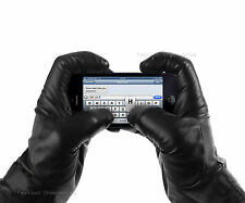 MENS GENUINE LEATHER GLOVES TOUCH SCREEN THERMAL INSULATED BLACK LEATHER GLOVES