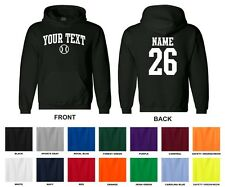 Custom Choose Text & Number Personalized Baseball Hooded Sweatshirt, ARCHED TEXT