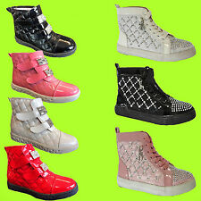Girls PATENT LEATHER Hi Tops DIAMANTE Quilted Velcro Laced PARTY BOOTS TRAINERS