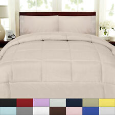 Solid Color Box Stitch 100% Polyester Down Alternative Comforter - 9 Colors