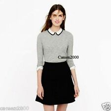 NWT J Crew Tipped Silk Collar Top Tee Peter Pan in Grey Size XS-L,Sold Out!