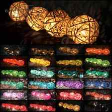 Aladin 20 Plain Color Rattan/Wicker Balls String Lights Fairy,Home Lighting US