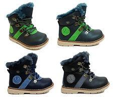 Baby Boys Childrens Kids Lace Up Zip Flat Pumps Winter Full Fur Ankle Boots Size