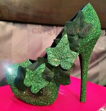 HALLOWEEN costume HAND MADE sparkly Shoes stiletto HEELS POISON IVY ADAM AND EVE