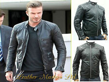 David Beckham Stylish Slim Fit Black Biker Fasion Leather Jacket Special Offer