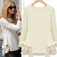 2014 Women Long Sleeve Pullover Chiffon Blouse Tops Fashion Refulles Beige Shirt
