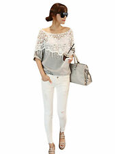 New Sexy Lady Girls Hollow Out Lace Batwing Sleeve Boat Neck T-shirt Tops Blouse