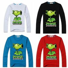 Plants vs Zombies Peashooter Long Sleeve Shirt Children Kids Student FOUR Colors