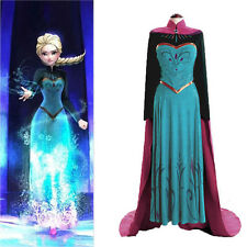 Movies Frozen Anna Coronation Costume Cosplay Party Dress+Cloak For Adult Womens
