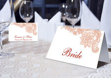 VINTAGE LACE PLACE NAME CARDS - PERSONALISED OR BLANK - BURGUNDY