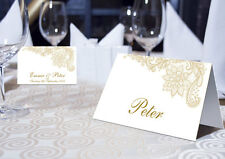 VINTAGE LACE PLACE NAME CARDS - PERSONALISED OR BLANK - GOLD