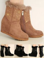 NEW WOMENS SUEDE HIDDEN MID HIGH WEDGE HEEL DIAMANTE FUR ANKLE BOOTS SHOES SIZE