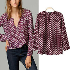 New sexy Women print one button blouse Long-sleeve top shirt lady Casual shirt