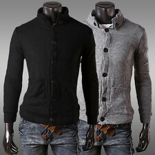 Stylish Men's Slim Fit Solid Color Button Placket Knitting Cardigans Coats Tops