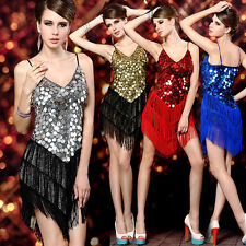 CHEAP NEW Evening Party Dance Club Latin Dancing Ball Bling Sequins Fringe Dress