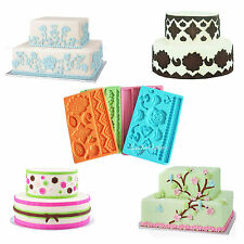 Mix 10 Styles Silicone Fondant Embossed Mold Cake Gum Paste Lace Decorating Tool