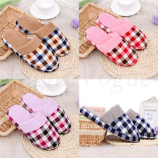 Hot Women Men Grid Fashion Winter Warm Soft Antiskid Indoor Home Slippers 035