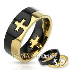 Top Quality FAMA 8mm Cross Puzzle Two Tone Ring Stainless Steel Size 9-14