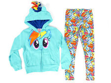My Little Pony Girls 2 Pc Outfit Rainbow Dash Blue Glitter Zip Hoodie + Leggings