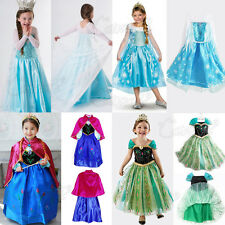 PRINCESS FANCY DRESS COSTUME PARTY SNOW ELSA KIDS GIRLS ANNA DRESSES FOR FROZEN