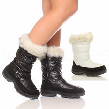WOMENS LADIES ZIP QUILTED PADDED WINTER SNOW FUR SKI MOON CALF BOOTS SIZE