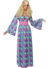 Adult 60s 70s Hippy Flower Power Child Ladies Maxi Fancy Dress Costume Outfit