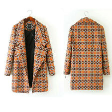Girl Double Suede Cotton Ethnic Print Long Jacket Outwear Coat