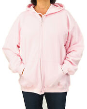 Women's Light Pink Cotton Blend Zip Hoodie Sweatshirt Plus Size XL or 2XL