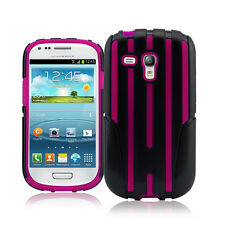 Hybrid Heavy Duty Dual Layer Lined Lines Case for Samsung Galaxy S3 Mini